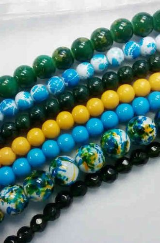 Blue, Green and Yellow Splash Bead Strings